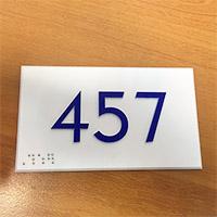 Plaque signalétique intérieure numéro de porte relief et braille