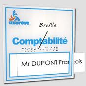 Plaque de porte personnalisable avec logo + braille