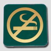 Plaque non fumeur vert et or