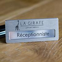 Badge Aluminium Brossé - Fixation Aimant