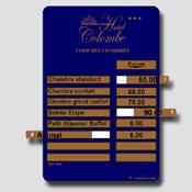 Tableau tarif bleu et doré