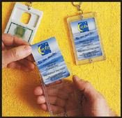 Porte clé porte-carte transparent vierge