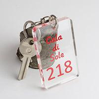 Porte-clé plexiglas gravé coloré rouge
