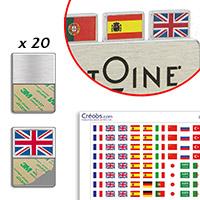 Kit porte drapeaux pour badge + page de drapeaux
