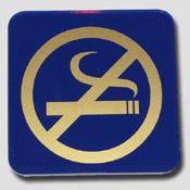 Plaque non fumeur bleu et or