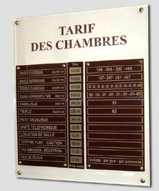 Tableau tarif sur mesure