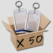 C. Boite de 50 porte-clés Minicréoglass