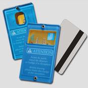 Porte-clé porte-carte bleu