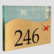Plaque de porte doré brossé non fumeur + braille