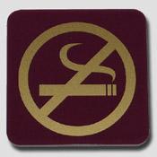 Plaque non fumeur bordeaux et or