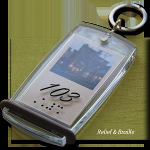 porte-clés hôtel relief et braille