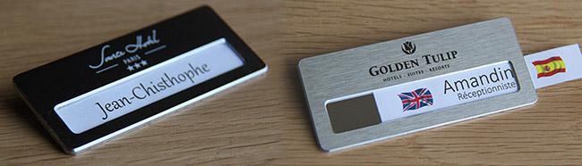 Badge porte nom en aluminium