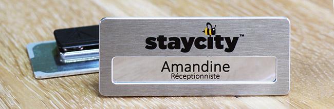 badge porte nom aluminium argent brossé