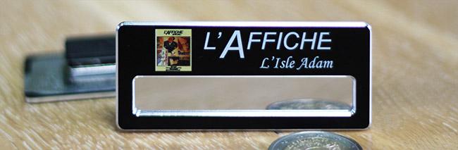 badge nominatif aluminium noir