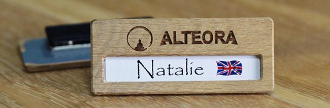 badge nominatif bois de chêne