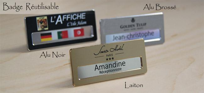 Badge porte-nom luxe laiton