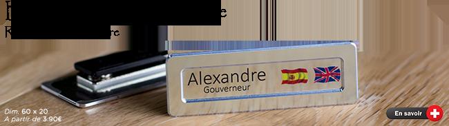 badge métal à glissière