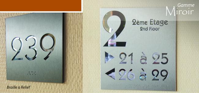 signalétique miroir hôtel